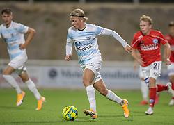 Carl Lange (FC Helsingør) under kampen i 1. Division mellem FC Helsingør og Silkeborg IF den 11. september 2020 på Helsingør Stadion (Foto: Claus Birch).