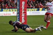 Leeds Rhinos prop forward Adam Cuthbertson (8) scores a try during the Betfred Super League match between Hull Kingston Rovers and Leeds Rhinos at the Lightstream Stadium, Hull, United Kingdom on 29 April 2018. Picture by Mick Atkins.