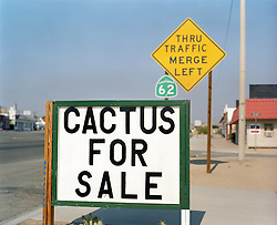 signs on a road in the desert