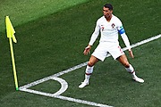 Cristiano Ronaldo #7 of Portugal celebrates after scoring a goal during the 2018 FIFA World Cup Russia group B match between Portugal and Morocco at Luzhniki Stadium on June 20, 2018 in Moscow, Russia.