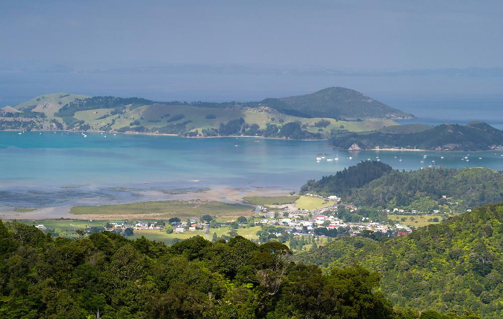 High-angle view of Coromandel from the Manaia Road on the Coromandel Peninsula, New Zealand