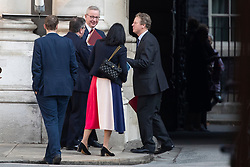 © Licensed to London News Pictures. 22/09/2020. London, UK. Justice secretary Robert Buckalnd (second left) ,Chancellor of the Duchy of Lancaster Michael Gove(centre)   and Scottish Secretary Alister Jack (right) speak to colleagues at the Foreign Office following a Cabinet Meeting. Later today the Prime Minister will address the nation . Photo credit: George Cracknell Wright/LNP