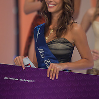 Dora Szabo wins the title Miss Earth Hungary during the joint Beauty Queen contest in Hungary's tv2 television headquarter in Budapest, Hungary on July 14, 2011. ATTILA VOLGYI