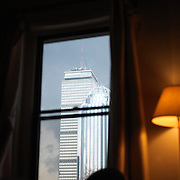 View of the Prudential Center from inside a South End residence, Boston, MA.