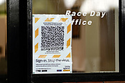 Covid warning on Race Office door during lockdown level 2.<br /> Vodafone Derby Day at Ellerslie Race Course, Auckland on Sunday 7th March 2021 during lockdown level 2.<br /> Copyright photo: Alan Lee / www.photosport.nz