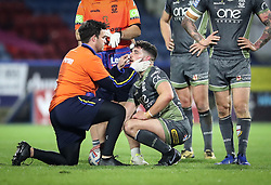 Warrington Wolves' Dec Patton receives medical attention during the Betfred Super League match at the John Smith's Stadium, Huddersfield.