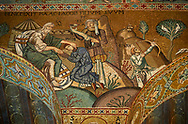 Medieval Byzantine style mosaics of the Palatine Chapel, Cappella Palatina, Palermo, Italy .<br /> <br /> If you prefer you can also buy from our ALAMY PHOTO LIBRARY  Collection visit : https://www.alamy.com/portfolio/paul-williams-funkystock/byzantine-art-antiquities.html . Type -    Palatine     - into the LOWER SEARCH WITHIN GALLERY box. Refine search by adding background colour, place, museum etc<br /> <br /> Visit our BYZANTINE MOSAIC PHOTO COLLECTION for more   photos  to download or buy as prints https://funkystock.photoshelter.com/gallery-collection/Roman-Byzantine-Art-Artefacts-Antiquities-Historic-Sites-Pictures-Images-of/C0000lW_87AclrOk