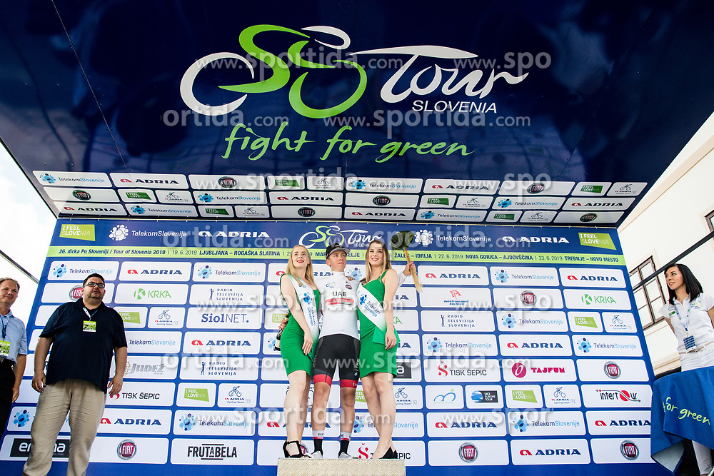 Tadej Pogacar (SLO) of UAE Team Emirates celebrates at trophy ceremony after 3rd Stage of 26th Tour of Slovenia 2019 cycling race between Zalec and Idrija (169,8 km), on June 21, 2019 in Slovenia. Photo by Matic Klansek Velej / Sportida