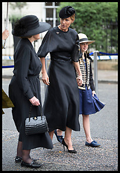 June 27, 2017 - London, London, United Kingdom - Image licensed to i-Images Picture Agency. 27/06/2017. London, United Kingdom. Countess Mountbatten's sister, Lady Pamela Hicks (left)and   her daughter India Hicks  arriving  at the funeral of Countess Mountbatten of Burma at  St.Paul's church in Knightsbridge, London. Picture by Stephen Lock / i-Images (Credit Image: © Stephen Lock/i-Images via ZUMA Press)