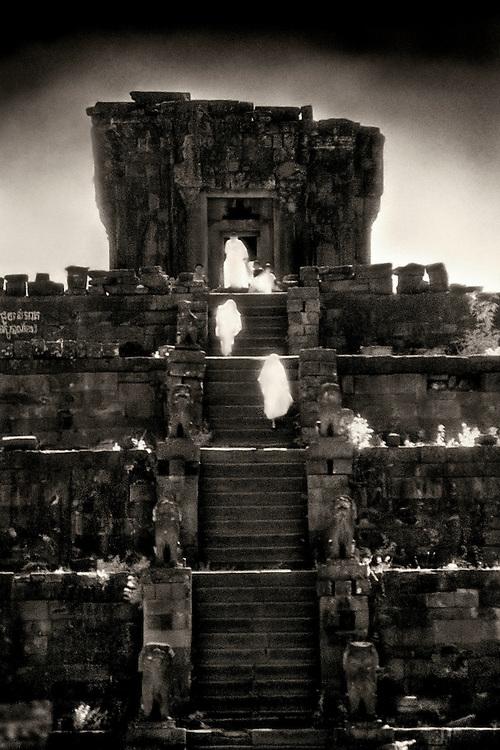 Monks Ascending the Stairway - Phnom Bakheng.