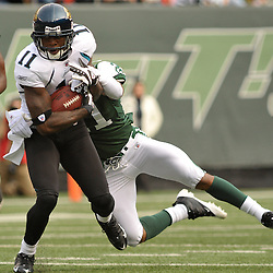 Nov 15, 2009; East Rutherford, NJ, USA; Jacksonville Jaguars wide receiver Mike Sims-Walker (11) makes a reception while pursued by New York Jets cornerback Dwight Lowery (21) during first half NFL action between the New York Jets and Jacksonville Jaguars at Giants Stadium.