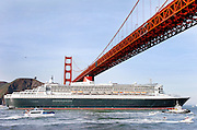 Feb 05, 2007 - SAN FRANCISCO, CA, USA - The Queen Mary 2 cruise ship passes under the Golden Gate Bridge on Sunday February 4, 2007.<br /> ©ZP/Exclusivepix