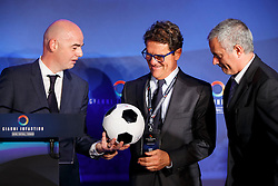 © Licensed to London News Pictures. 01/02/2016. London, UK. FIFA Presidential Candidate Gianni Infantino unveils his 90 day plan that he will implement if he is elected FIFA President with former England manager Fabio Capello and former Chelsea manager Jose Mourinho at Wembley Stadium in London on Monday 1 February 2016. Photo credit: Tolga Akmen/LNP