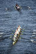 Putney, London, Varsity, 5th April 2019, , Blue Boat's, pass through Hammersmith Bridge, Oxford/Cambridge Media week, Championship Course,<br /> [Mandatory Credit: Karon PHILLIPS], Friday  05/04/2019,