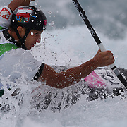 Mateusz Polaczyk, Poland, in action during the Kayak Single (K1) Men Final during the Canoe Slalom competition at Lee Valley White Water Centre during the London 2012 Olympic games. London, UK. 1st August 2012. Photo Tim Clayton