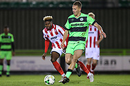 Forest Green Rovers Rendijs Kalnins(6) passes the ball forward during the FA Youth Cup match between U18 Forest Green Rovers and U18 Cheltenham Town at the New Lawn, Forest Green, United Kingdom on 29 October 2018.