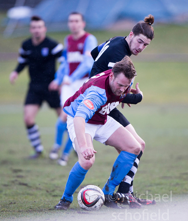 Whitehill Welfare John Hall and Edusport Academy Quentin Fouley. <br /> Whitehill Welfare 2 v 1 Edusport Academy, South Challenge Cup Quarter Final played 7/3/2015 at Ferguson Park, Carnethie Street, Rosewell.
