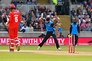 Wicket - Pat Brown of Worchestershire celebrates taking the wicket of Toby Lester of Lancashire during the Vitality T20 Finals Day Semi Final 2018 match between Worcestershire Rapids and Lancashire Lightning at Edgbaston, Birmingham, United Kingdom on 15 September 2018.