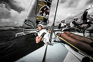 Image licensed to Lloyd Images.<br /> The Extreme Sailing Series 2015. Act 4 - Cardiff. UK<br /> GAC Pindar skippered by Seve Jarvin (AUS) and Chris Draper (GBR) and crewed by James Wierzbowski (AUS), Tyson Lamond (AUS) and Kazuhiko Sofuku (JPN).<br /> Credit: Lloyd Images