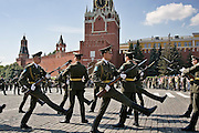 Moscow, Russia, 02/08/2006..Russian paratroops parade on Red Square to mark their regimental holiday and as part of the Orthodox celebrations of Saint Ilyin's Day.