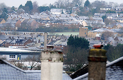 © Licensed to London News Pictures. 19/01/2015<br /> Freezing roof tops across Orpington and Bromley in the South East.<br /> A very cold morning St Pauls Cray,Orpington,Kent. today (19.01.2015)<br /> Weather warning has been issued across most of the uk as temperatures dropped overnight to -11c in parts.<br /> <br /> (Byline:Grant Falvey/LNP)