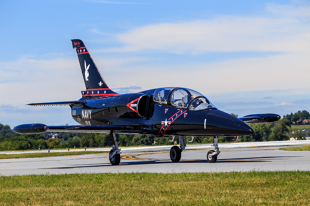 Lancaster, PA, USA - August 22, 2015: An L-39 jet returns from a fly-over at Lancaster Airport Community Days air show.