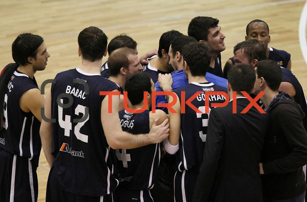 Anadolu Efes's players during their Turkish Basketball league derby match  Fenerbahce Ulker between Anadolu Efes at Caferaga Sports Hall in Istanbul, Turkey, Saturday 01, 2012. Photo by TURKPIX