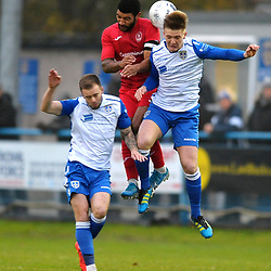 TELFORD COPYRIGHT MIKE SHERIDAN Ellis Deeney battles for a header during the Buildbase FA Trophy 3Q fixture between Guiseley and AFC Telford United at Nethermoor Park on Saturday, November 23, 2019.<br /> <br /> Picture credit: Mike Sheridan/Ultrapress<br /> <br /> MS201920-031