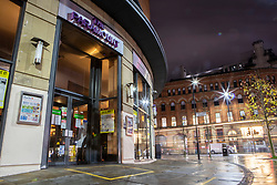 © Licensed to London News Pictures. 18/12/2020. Manchester, UK. Hospitality business Wetherspoon's The Paramount sits quiet and empty as the city remains in Tier 3. For many businesses this weekend before Christmas should be the busiest time of the year. Photo credit: Kerry Elsworth/LNP