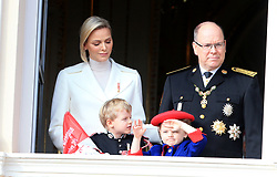 Princess Charlene, Prince Jacques, Princess Gabriella and Prince Albert II The royal family of Monaco posing at the balcony of the Grimaldi castle for the National Day festivities on November 19th 2019.