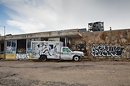 8/16/2015 Graffiti covered ambulance and building in the upper 9th Ward of New Orleans, 10 years after Katrina.