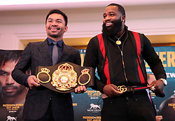 November 20, 2018 - Beverly Hills, California, U.S - November 20, 2018, Beverly Hills,Ca. --- (L-R)  Manny ''Pacman'' Pacquiao and Adrien ''The Problem'' Broner attend a press conference Tuesday in Beverly Hills,California for their upcoming WBA Welterweight title fight Saturday, January 19 from MGM Grand Garden Arena in Las Vegas..Boxing's only eight-division world champion, Pacquiao will end his two-year hiatus from a U.S. boxing ring when he returns to Las Vegas to defend title against former four-division world champion Broner. (Credit Image: © Chris Farina/ZUMA Wire)