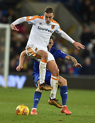 Cardiff City's Joe Ralls (right) and Hull City's Jackson Irvine during the Sky Bet Championship match at the Cardiff City Stadium.