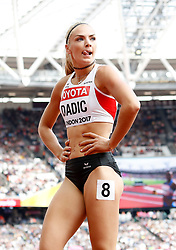 Austria's Ivona Dadic during day two of the 2017 IAAF World Championships at the London Stadium. PRESS ASSOCIATION Photo. Picture date: Saturday August 5, 2017. See PA story ATHLETICS World. Photo credit should read: Martin Rickett/PA Wire. RESTRICTIONS: Editorial use only. No transmission of sound or moving images and no video simulation.