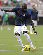 JACKSONVILLE, FL - JUNE 07:  Forward Jozy Altidore #17 of the United States shoots during warm ups before the international friendly match against Nigeria at EverBank Field on June 7, 2014 in Jacksonville, Florida.  (Photo by Mike Zarrilli/Getty Images)