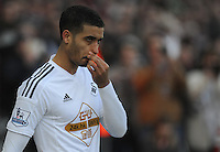 Swansea City's Kyle Naughton walks out to the pitch <br /> <br /> Photographer Ashley Crowden/CameraSport<br /> <br /> Football - Barclays Premiership - Swansea City v Sunderland - Saturday 7th February 2015 - Liberty Stadium - Swansea<br /> <br /> © CameraSport - 43 Linden Ave. Countesthorpe. Leicester. England. LE8 5PG - Tel: +44 (0) 116 277 4147 - admin@camerasport.com - www.camerasport.com
