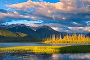 The Sundance Range and Vermillion Lakes at sunrise<br />Banff National Park<br />Alberta<br />Canada
