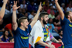 Aleksej Nikolic of Slovenia, Ziga Dimec of Slovenia react during basketball match between National Teams of Slovenia and Spain at Day 15 in Semifinal of the FIBA EuroBasket 2017 at Sinan Erdem Dome in Istanbul, Turkey on September 14, 2017. Photo by Vid Ponikvar / Sportida