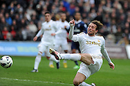 Swansea city's Michu attempts to get on the end of a cross. Barclays Premier League, Swansea city v Tottenham Hotspur at the Liberty Stadium in Swansea, South Wales on Saturday 30th March 2013. pic by Andrew Orchard, Andrew Orchard sports photography,
