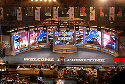 The draft stage from an elevated position during the first round of the NFL Draft on April 26th 2012 at Radio City Music Hall in New York, New York. (AP Photo/Brian Garfinkel)