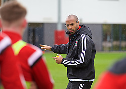 NEWPORT, WALES - Saturday, May 21, 2016: Thierry Henry delivers his practical demonstration during the Football Association of Wales' National Coaches Conference 2016 at Dragon Park FAW National Development Centre. (Pic by David Rawcliffe/Propaganda)