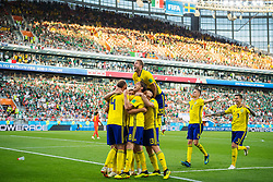 June 27, 2018 - Ekaterinburg, RUSSIA - 180627 Andreas Granqvist, Emil Forsberg, Albin Ekdal, Gustav Svensson, Ola Toivonen, Mikael Lustig and Victor Nilsson LindelÅ¡f of Sweden celebrates after the 0-2 goal during the FIFA World Cup group stage match between Mexico and Sweden on June 27, 2018 in Ekaterinburg..Photo: Joel Marklund / BILDBYRN / kod JM / 87737 (Credit Image: © Joel Marklund/Bildbyran via ZUMA Press)