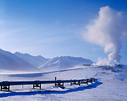 Trans Alaska Pipeline and Alyeska Pump Station 4 on -50ºF morning in late March, north side of the Brooks Range, Alaska.