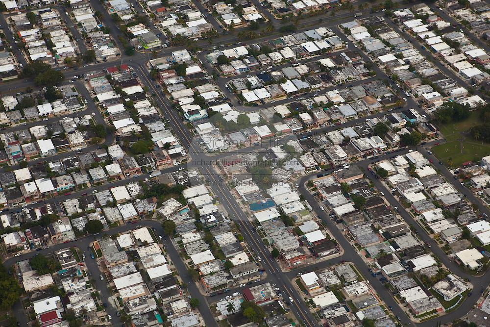 Aerial of crowed barrios outside San Juan, Puerto Rico.