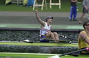 © Intersport Images <br /> email info@Intersport-images.com<br /> [Mandatory Credit;Peter Spurrier/Intersport Images]<br /> <br /> Photo Peter Spurrier<br /> Junior World Rowing Championships 2001<br /> 6  - 11th August 2001<br /> Regattabahn Duisburg -Wedau.<br /> Sat 11th Aug - Finals<br /> Matthew Landgridge, celebrates winning the single sculls event, at the World Junior Rowing Championships. 20010808 FISA Junior World Rowing Championships, Duisburg. Germany