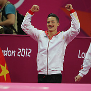 Marcel Nguyen, Germany, Silver Medal winner in the Men's Parallel Bars Final  at North Greenwich Arena during the London 2012 Olympic games London, UK. 25th July 2012. Photo Tim Clayton
