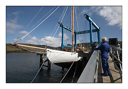 Kentra - A Wm. Fife Designed Classic Yacht which has been in storage for the past 7 years is launched from Fairlie