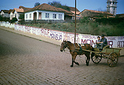 Man and boy riding horse and cart past political campaign posters for politician João Mansur (1923-2012), Palmeira, Paraná state, Brazil 1962