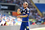 Scott Malone of Cardiff city looks on. Skybet football league championship match, Cardiff city v Fulham at the Cardiff city stadium in Cardiff, South Wales on Saturday 8th August  2015.<br /> pic by Andrew Orchard, Andrew Orchard sports photography.
