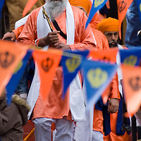 Glasgow, Baisakhi celebrations April 6 2008...Vaisakhi, also spelled Baisakhi, is one of the most important dates in the Sikh calendar. It is the Sikh New Year festival and the anniversary of the founding of Khalsa (the Sikh brotherhood) in 1699.  It usually falls on 13 or 14 April according to the Sikh solar calendar, and celebrations take place throughout April and May....Vibrant clothes in all colours of the rainbow (to mark the end of winter and beginning of spring), glittering jewellery,